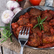 Stock Photo: Fresh made Meatballs with Sauce in pan