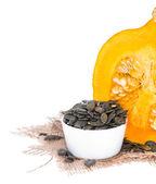 Pumpkin Seeds on white — Stock Photo