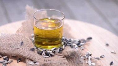 Rotating Sunflower Oil — Stock Video