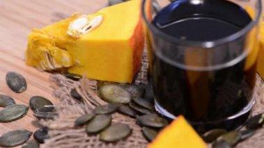 Fresh Pumpkin Seed Oil — Stock Video