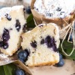 Halved Blueberry Muffin — Stock Photo
