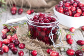 Portion of preserved Cranberries — Foto Stock