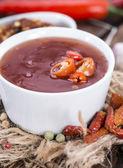 Portion of fresh Chili Sauce — Stock fotografie