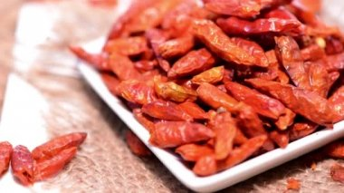Portion of dried Chillies — Stock Video