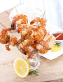 Party Food (Prawn Skewers) — Stock Photo