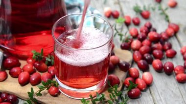 Chilled Cranberry Juice in a glass — Stock video