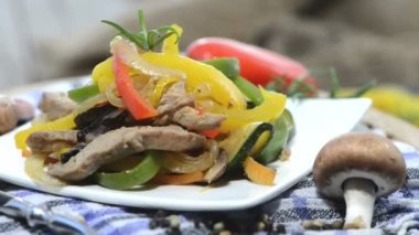 Vegetables with Chicken meat — Stock Video