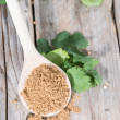 Coriander Powder on a wooden spoon — Stock Photo #43214021