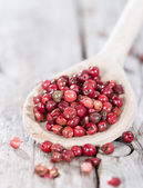 Cooking Spoon with Pink Peppercorns — Stock Photo