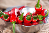 Small bowl with red Chillies — Stock Photo
