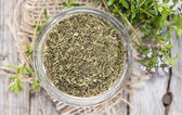 Dried Winter Savory in a bowl — Stock Photo