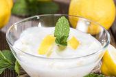 Fresh made Lemon Yoghurt — Stock Photo