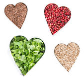 Heart Shapes with Herbs and Spices — Stock Photo