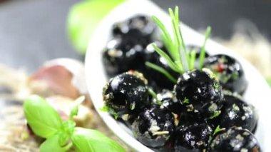 Portion of Black Olives — Stock Video