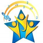 Teamwork singing talents logo — Stock Vector