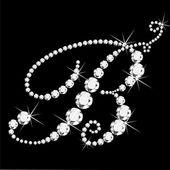 Lettera corsivo b con diamanti — Vettoriale Stock