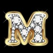 M gold and diamonds bling — Vector de stock #12467783