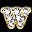 W gold and diamonds bling — Vector de stock #12482548