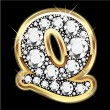 Q gold and diamonds bling — Vector de stock #12482549