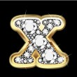 Stockvector : X gold and diamonds bling