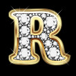 R gold and diamonds bling — Vector de stock #12482574