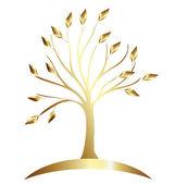 Gold tree logo stock vector — Stock Vector