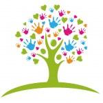 boom met handen en hart cijfers logo — Stockvector
