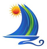 Boat wave and sun logo vector — Stock Vector