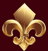 Fleur De Lis, New Orleans simbol in gold — Stock Vector