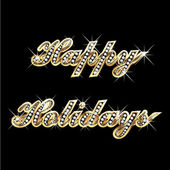 Happy holidays gold bling bling — Stock Vector