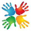 Teamwork hands around colorful logo - Image vectorielle