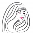 Beautiful girl face vector — 图库矢量图片