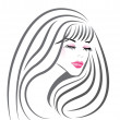 Beautiful girl face vector — Imagen vectorial