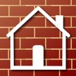 House icon with wall background vector - Stock Vector