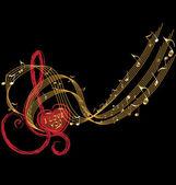 Note di musica e amore cuore vettoriale — Vettoriale Stock