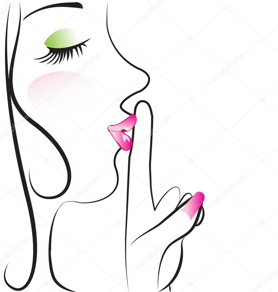 Señora haciendo silencio signo vector diseño — Vector de ...