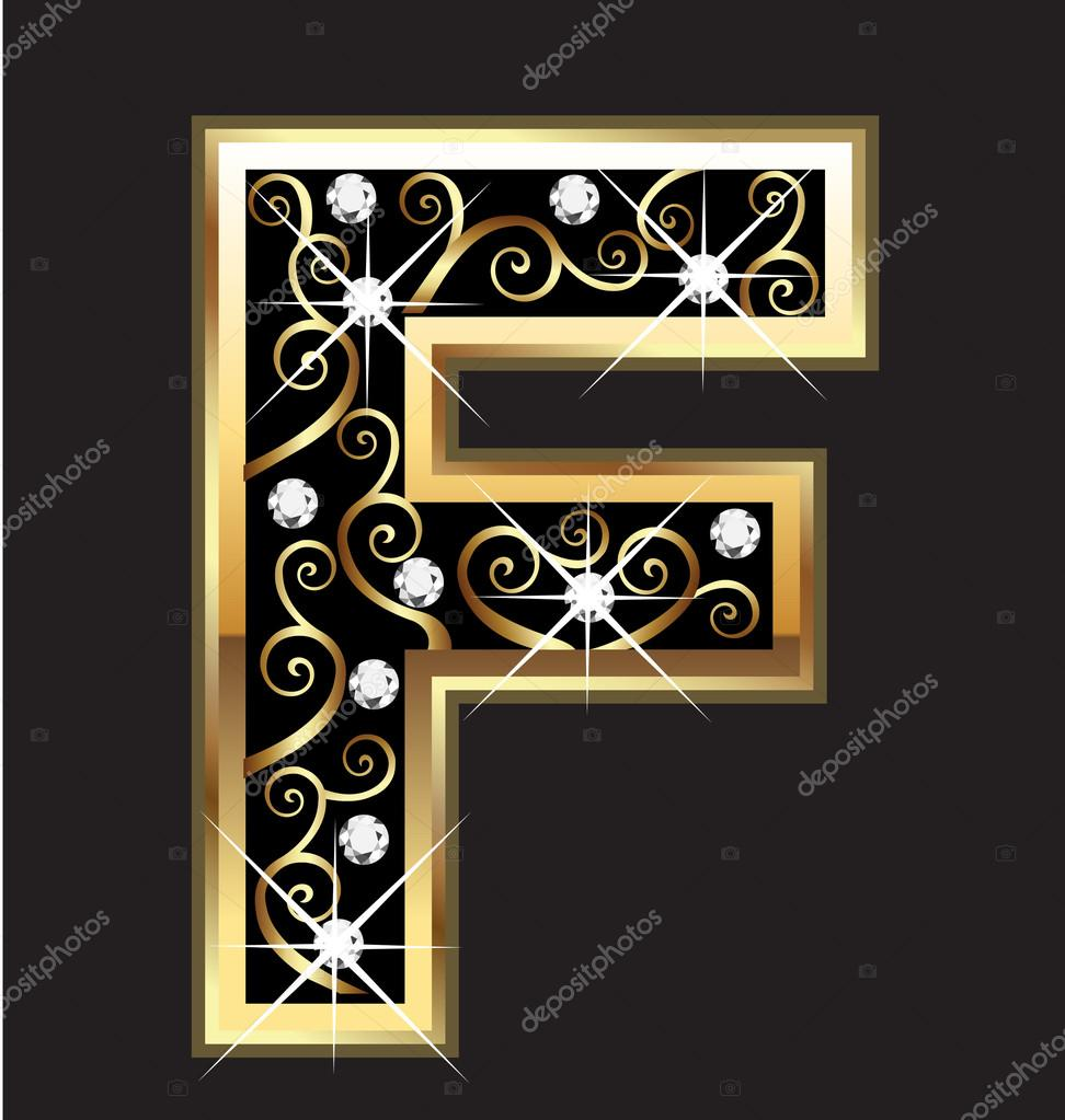 f gold letter with swirly ornaments stock vector 14531101