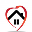 House heart logo - Image vectorielle