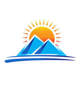 Mountains and sun logo — Stock Vector
