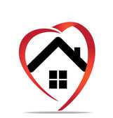 House heart logo — Stock Vector