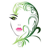 Girl face with swirly leaf vector — Stock Vector