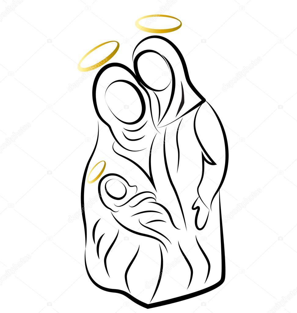 Nativity scene silhouette vector — Stock Vector © Glopphy #15049285