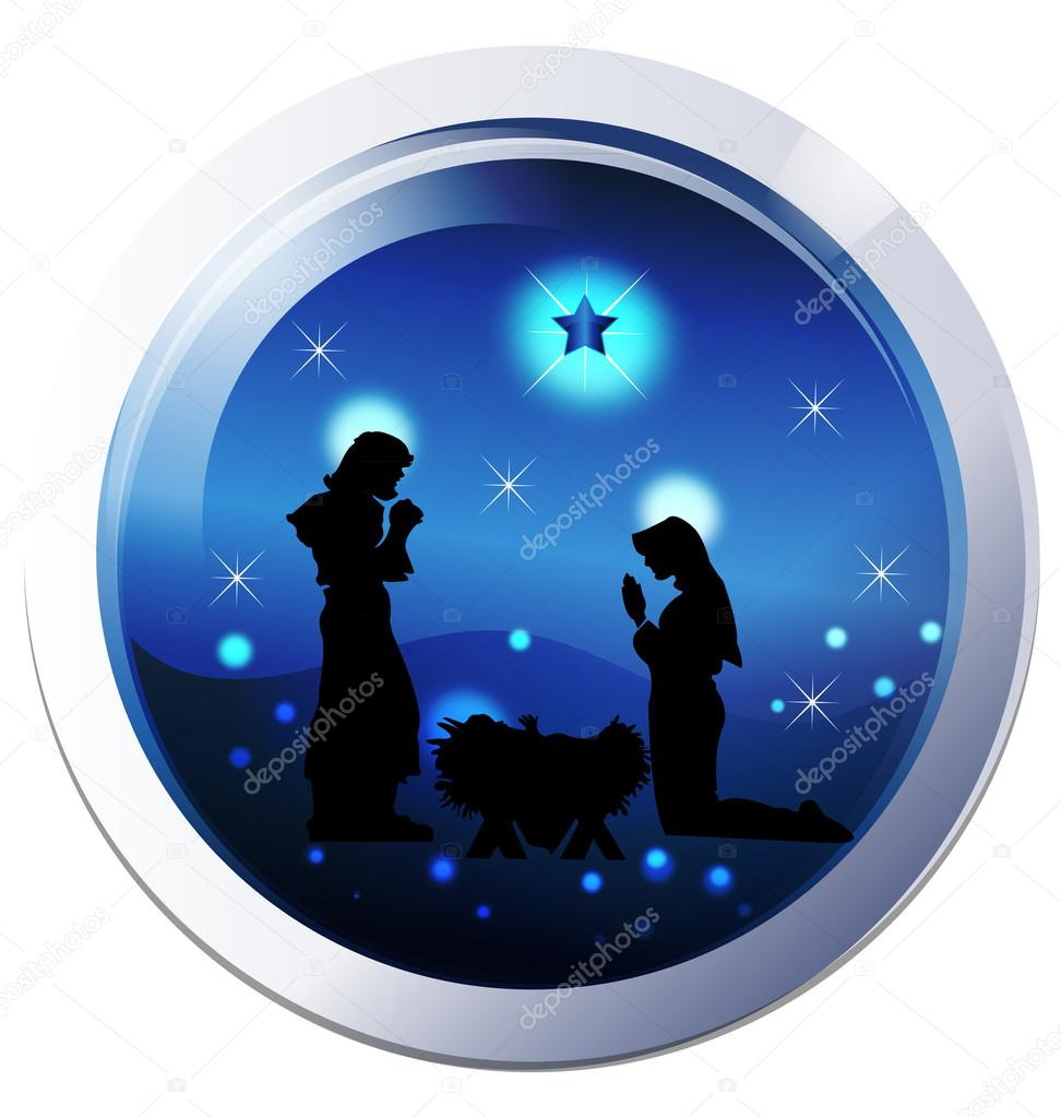 Nativity Background Silhouette Blue Background Silhouette