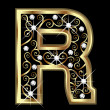 R gold letter with swirly ornaments vector - Stock Vector