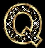 Q золотой письмо с вектором swirly украшения — Cтоковый вектор