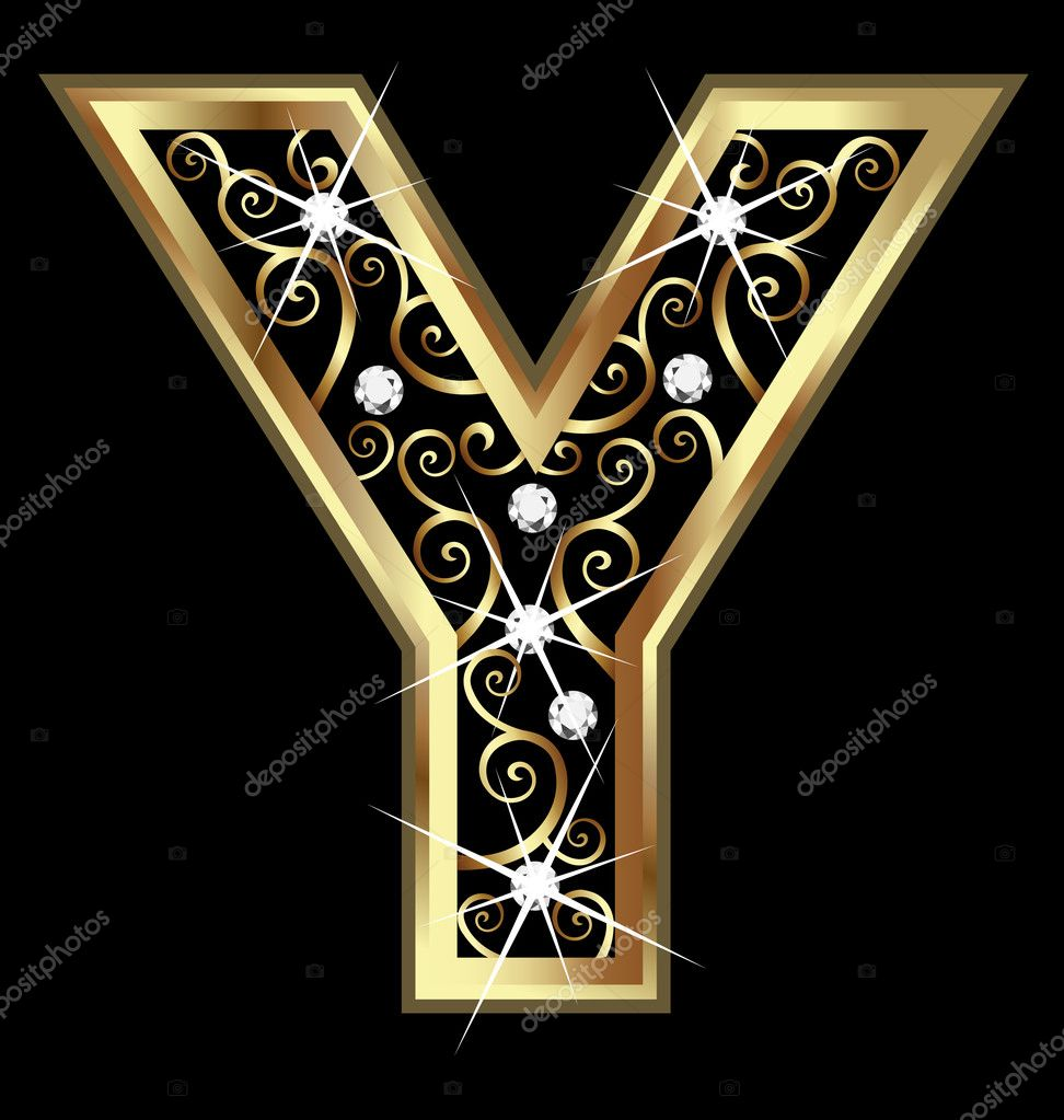 y letter in gold - photo #14