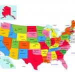 státy USA 50 s názvy krajů a kapitál — Stock vektor