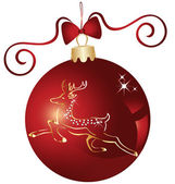 Christmas ball and gold reindeer design — Vector de stock