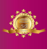 Happy 50 years birthday gold design image — Stock Vector