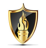Shield and flame torch gold design image — Stock Vector